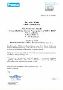 Certyfikat Promat